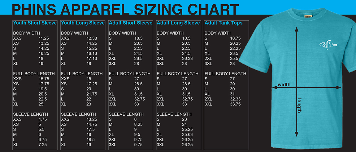 Phins Apparel Sizing Chart
