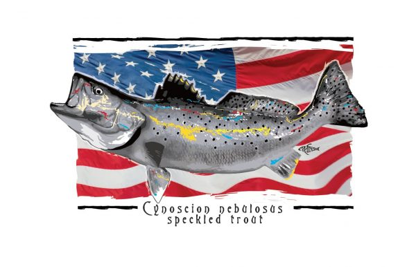 A Speckled Trout on an American Flag background