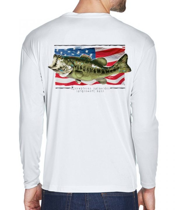 A adult model wearing Largemouth Bass on an American Flag background on White.