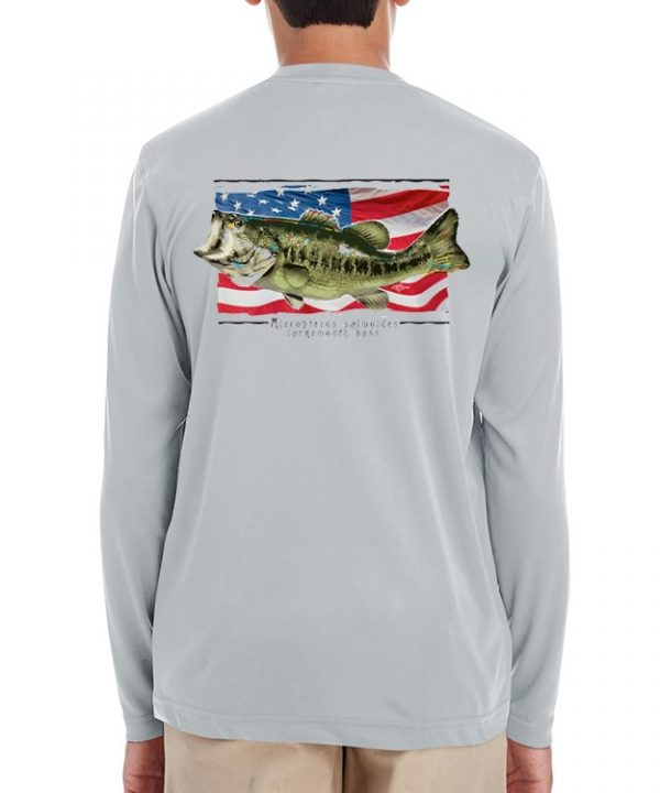 A youth model wearing Largemouth Bass on an American Flag background on Grey.