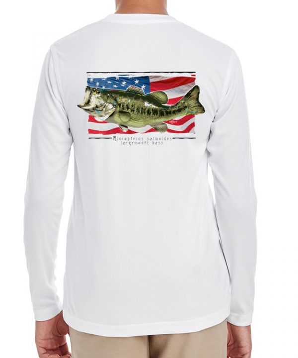 A youth model wearing Largemouth Bass on an American Flag background on White.