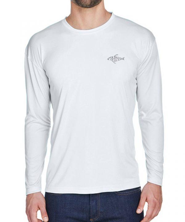An adult model wearing a white Dri-FIT shirt. It is the front of a White Dri-FIT shirt