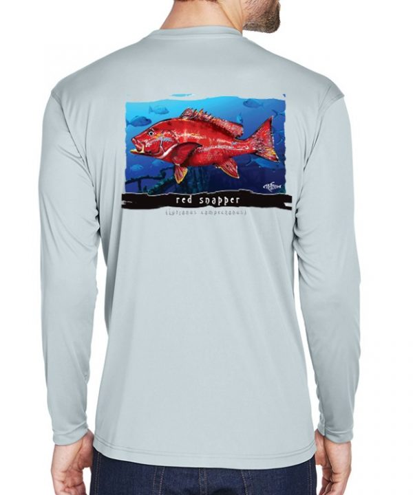 An adult model wearing a Red Snapper design on an underwater background on a Grey dri-fit.
