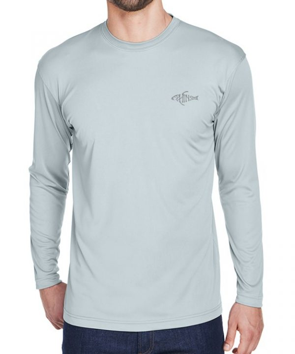 An adult model wearing a grey Dri-FIT shirt. It is the front of a Grey Dri-FIT shirt