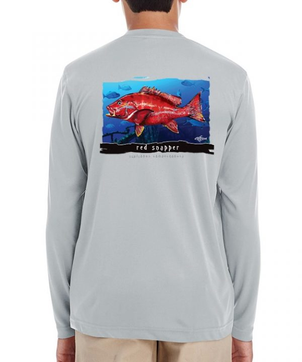 A youth model wearing a Red Snapper design on an underwater background on a Grey dri-fit.