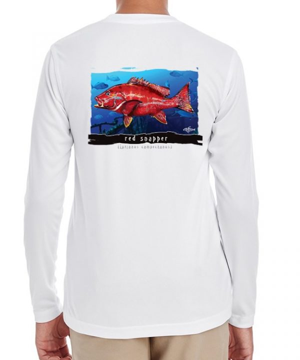A youth model wearing a Red Snapper with an ocean background on a White dri-FIT