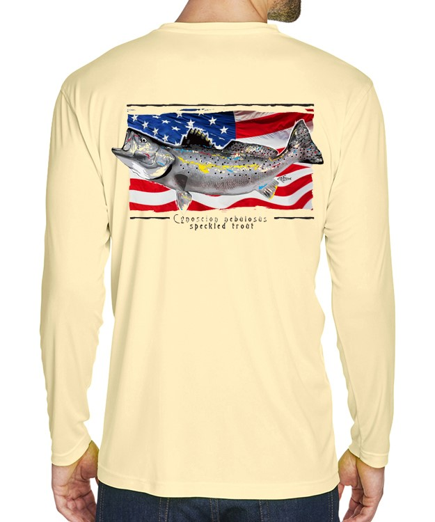 A adult model wearing a Speckled Trout on an American Flag background on a Yellow dri-FIT