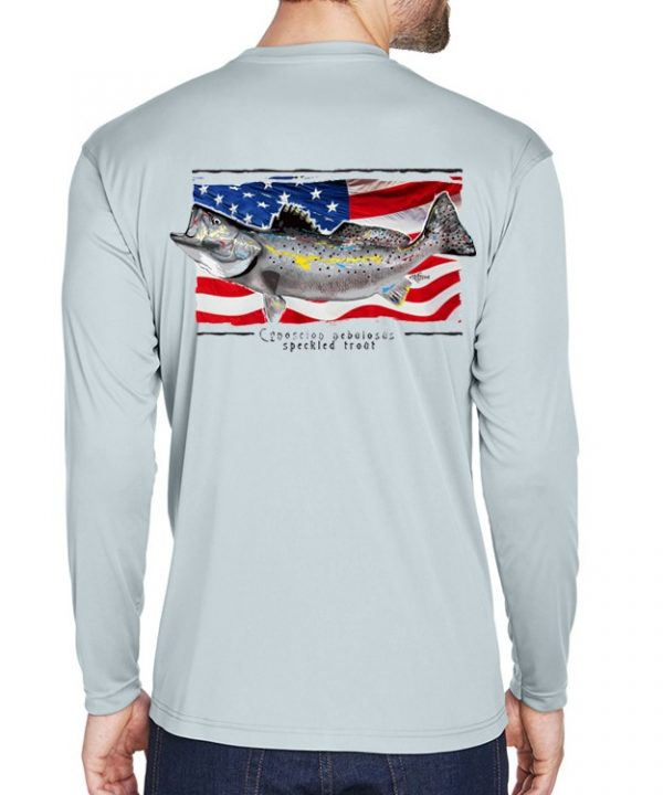 A adult model wearing a Speckled Trout on an American Flag background on a Grey dri-FIT