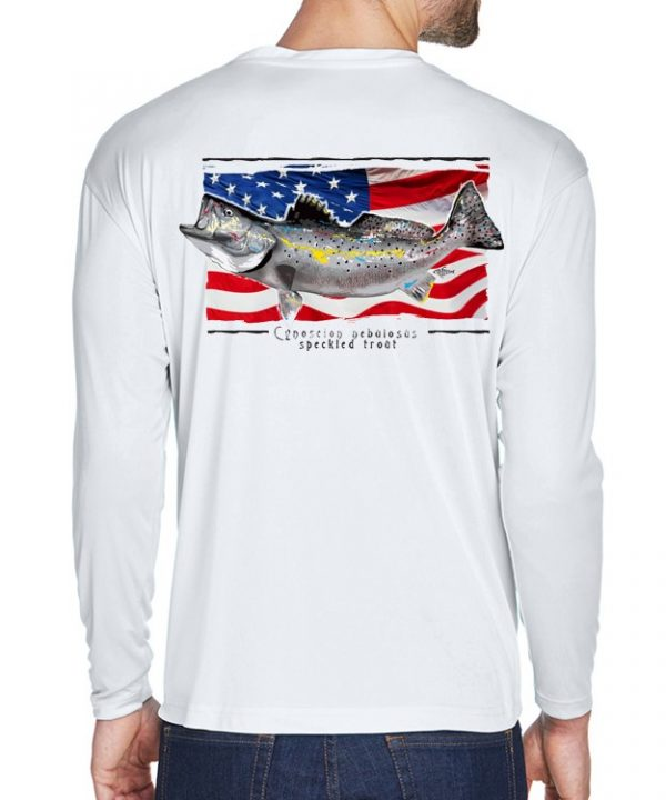 A adult model wearing a Speckled Trout on an American Flag background on a White dri-FIT