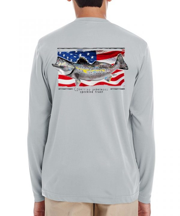 A youth model wearing a Speckled Trout on an American Flag background on a Grey dri-FIT