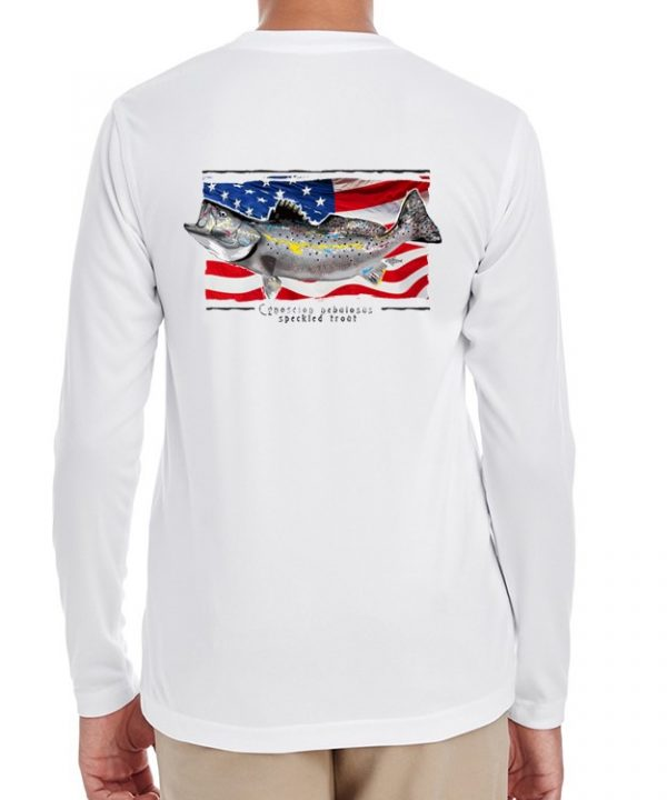 A youth model wearing a Speckled Trout on an American Flag background on a White dri-FIT