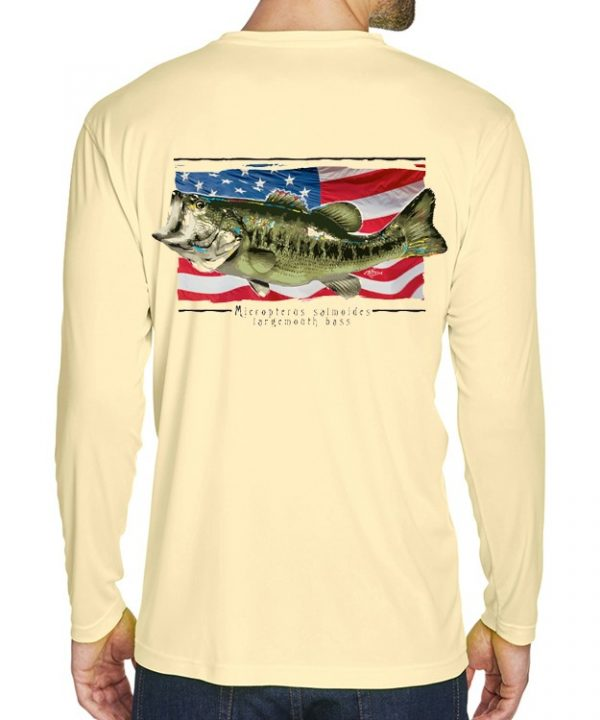 A adult model wearing Largemouth Bass on an American Flag background on Butter.